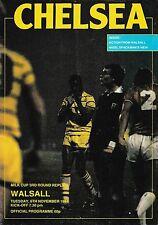 Football Programme>CHELSEA v WALSALL Nov 1984 Milk Cup