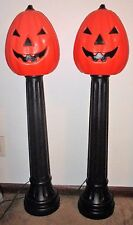 "2 VTG TPI CANADA HALLOWEEN BLOWMOLD JACK O LANTERN PUMPKIN LAMP POST 44"" LIGHT"