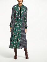 NEW £140 Boden 12R Long Spotty Cecilla Green Pink Maxi Dress Prairie Winter