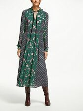 NEW £140 Boden 12R Long Spotty Cecilla Green Pink Maxi Dress Prairie Winter