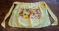 Vintage Cotton Yellow 1970s Floral Half Apron Reversible Wipe Towel And Pockets