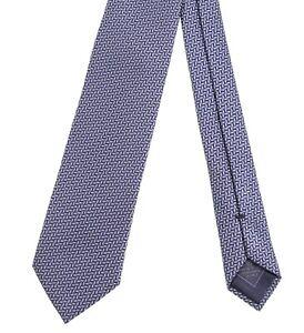 RECENT Brioni Blue Silver Black Geometric Zig Zag Chevron Woven 100% Silk Tie