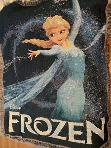 """Disney Frozen Woven Throw Tapestry Blanket Elsa Snow Queen 48"""" X 60"""" W Frills"""