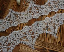 """5.7""""*1Y Ivory Floral Bridal Veil Alencon Lace Trim Bridal Wedding Dress Fabic"""
