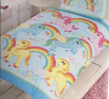 * NEW GIRLS UNICORNS RAINBOW SINGLE duvet set believe in your dreams pink yellow