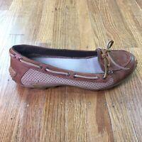 Merrell Marina Brown Boat Shoes Sz 7 Flats Slip On Loafers Mocs Vibram Sole