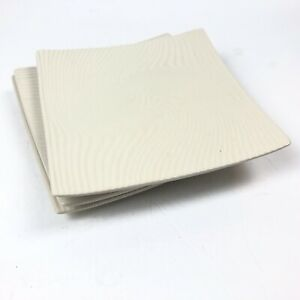 Baum Bros Salad Plates Square Sand Dune Collection Waves Groved Textured Beige
