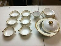 A Soup Set from Meito China Japan Hand Painted Floral Pattern with Gold Trim - S