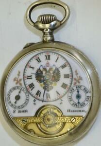 Antique Imperial Russian officer's 8 days Hebdomas CALENDAR silver pocket watch