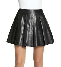 Alice + Olivia Box Pleat Leather Skirt Black Size 4 NWT