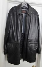 Johnston & Murphy Mens Lambskin Jacket Coat Hand Crafted Leather Zip Black M VTG