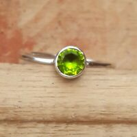 Peridot Stone Solid 925 Sterling Silver Band Ring Meditation Statement Ring Ak8