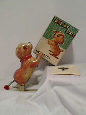Vintage Tin Jumping Dog with flopping ears Wind-Up Toy In BOX Working with Key