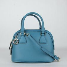 Gucci Teal Blue Leather GG Charm Mini Dome Bag w/detachabel Strap 449661 4618