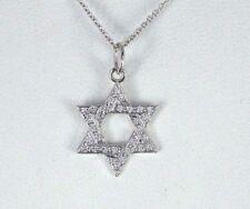 14k oro bianco a Pavé diamante rotondo 6 Point EBRAICO ciondolo stella catenina