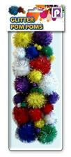 Childrens Kids Assorted Size & Colour Glitter Pom Poms Balls Art Craft Cat Toy