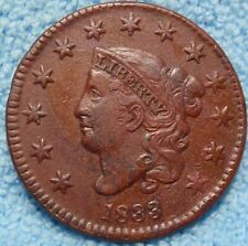 1833 XF-AU Braided Hair Large Cent  Great details  - <