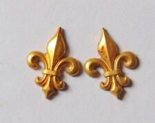 Ancien Ornement Applique fleurs de Lys métal doré restauration cadre meuble 1,8c