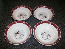 """Set of 4 Royal Seasons Stoneware Snowman Cereal Bowls 7"""" Bowl"""