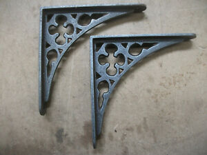 GOTHIC STYLE pair Shelf / Wall  Bracket - cast IRON 150mm x 150mm