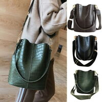 Women Large Alligator Bucket Leather Bags Casual Messenger Bag Shoulder Handbag