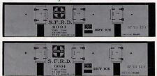 5 boxcars Atsf Dry Ice N scale printed reefer sides, 5 different numbers