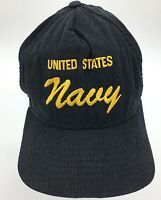 Vtg United States Navy USN Embroidered Script Corduroy Snapback Hat Made in USA