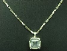 925 Sterling Silver Chain & 835 Pendant with Rock Crystal Decorations/38,0cm