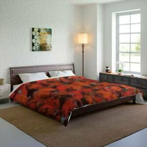 Red Pebble Design Abstract Art Polyester Comforter Artistic Quilt Blanket in Red
