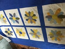 Vtg quilt  Flower lots of great. colors each sq done by friend and initial