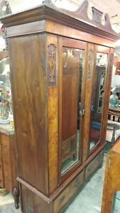 Large Antique Wardrobe - Carved wood and Burl Wood - Beautiful