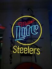 "Pittsburgh Steelers Miller Lite Neon Lamp Sign 20""x16"" Bar Light Beer Display"