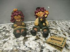 Blossom Bucket Raggedy Anne And Andy  Figurine Sitting Holding Flowers