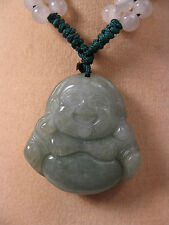 "Handcrafted Nœud Travail réglable vert jade ""heureux Bouddha collier pendentif"""
