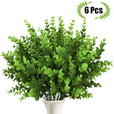 6pcs Artificial Plants Fake Greenery Foliage Plant Home Garden Outdoor Art Decor