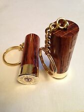 Holland & Holland Shotgun Shell Cartridge Cap Solid dark oak wood Keyrings X 2