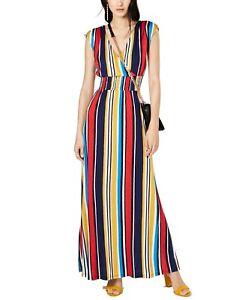 INC Womens Maxi Dress Yellow Size Medium M Smocked Ruched Striped $89 665