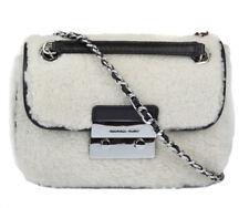 Michael Kors Womens Black Jamie Medium Shearling Shoulder Bag Purse Handbag