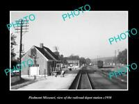 OLD LARGE HISTORIC PHOTO OF PIEDMONT MISSOURI, THE RAILROAD DEPOT STATION c1950