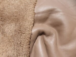 sheepskin shearling leather hide Curly Plush Hair Acorn Brown w/smooth back