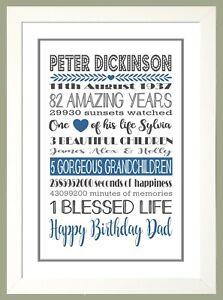 Personalised AMAZING YEARS Memories Birthday Family Keepsake - BLUE & GREY Print
