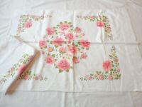 2 Vintage 1970's Pillow Cases Pink Roses Floral Print 100% Cotton