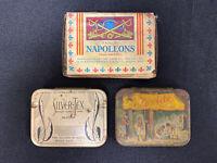 Vintage Prophylactic Condom Tin Boxes Napoleons Texide Silver-Tex Antique Litho