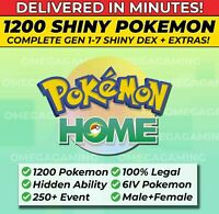 Pokemon Home FULL SHINY LIVING DEX, Gen 1-7 | 250+ Event, ALL Legendary, 6IV, M+