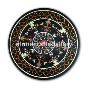 "24"" Precious Marquetry Inlay Art Black Marble Round Coffee Table Top Decors B062"