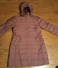 womens lands end quilted goose down filled long puffer jacket hooded size L. 18
