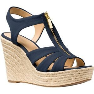 NIB Michael Kors Berkley Weave Canvas Espadrille Wedge Sandals Navy Size 7