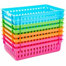8Pcs 4 Colors Plastic Pen & Pencil Baskets Trays for Classroom Organizer Storage