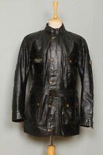 Stunning BELSTAFF Black Belted Motorcycle Leather Jacket Size XLarge