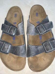 BIRKENSTOCK 'ARIZONA' MENS IRON (GREY) LEATHER SOFT FOOTBED SANDAL SIZE 45/12M